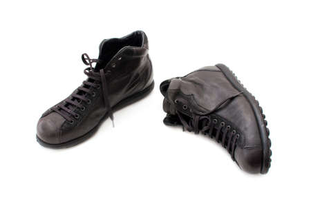 Black leather boots, image is taken over a white background Stock Photo - 8204503