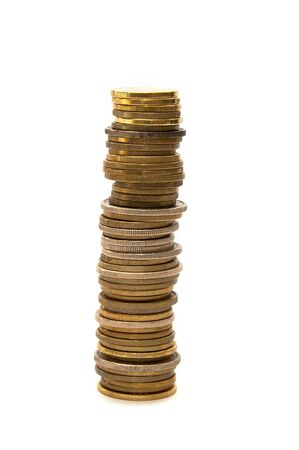 coin stack: Stacks and piles of gold tinted coins.
