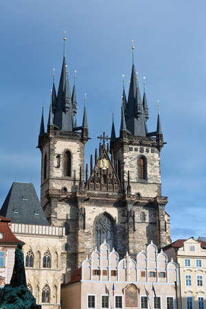tyn: Towers of Church of Our Lady before Tyn, the most remarkable Gothic church set in Prague.
