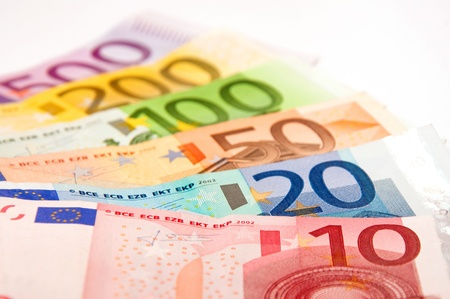 pile of Euro banknotes photo