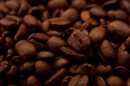 caffiene: Beautiful brown coffee beans, close up image Stock Photo