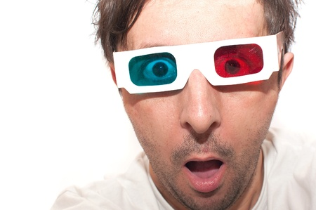 stereoscopic: Man with anaglyph 3D glasses making funny face.