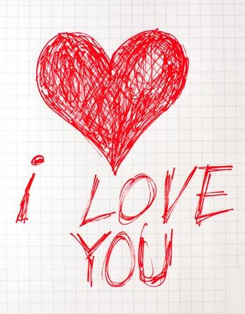 communication �crite: Note � I love you �, �crit sur un morceau de papier