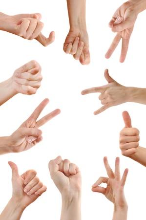 idiomas: Varias se�ales de mano y s�mbolos sobre un fondo blanco.