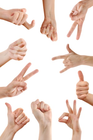 sign language: Various hand signs and symbols over a white background. Stock Photo