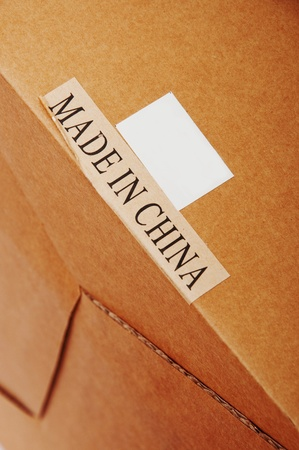 A cardboard with a paper label Made In China photo