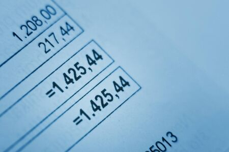 Close-up image of financial Invoice photo