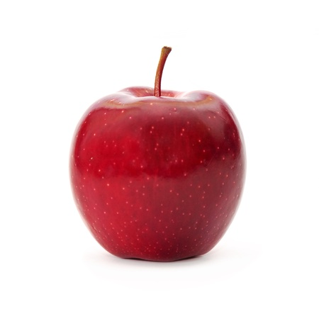 apple red: Fresh apple isolated on white background. Organic, healthy red delicious apple, stem and slight shadow.