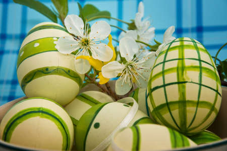 manually: Manually decorated and painted easter eggs. Painted eggs are the part of peoples tradition in christian culture. Stock Photo