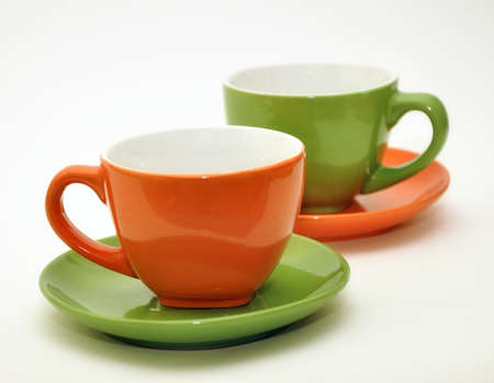 Empty coffee mugs, image is taken over a white background Stock Photo - 9499352