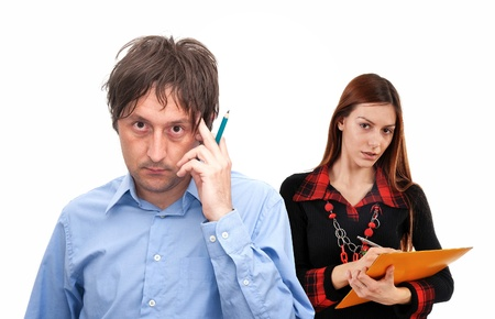 situation: Young business entrepreneurs in a worriying situation Stock Photo