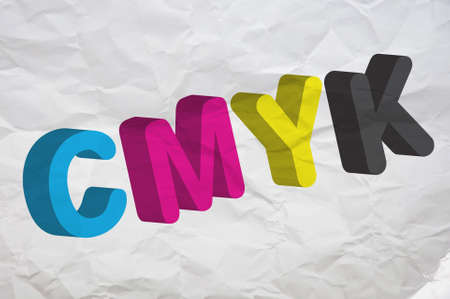 polygraphic: CMYK, four letters representing four colors in printing industry. Image can be used as a illustration for a polygraphic theme. Stock Photo