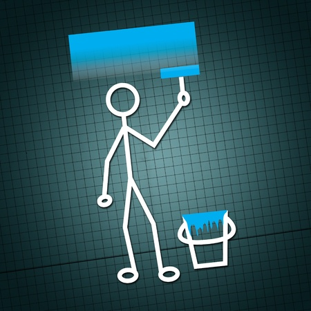 An illustration of a humanoid figure painting a wall in blue illustration