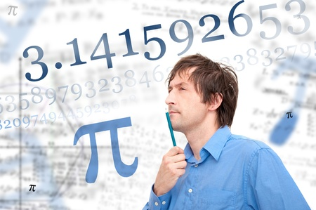 Portrait of a young scientist calculating Pi number photo