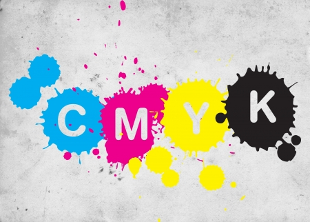 CMYK, four letters representing four colors in printing industry. Image can be used as a illustration for a polygraphic theme. Stock Illustration - 9680662