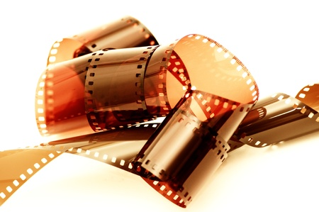 35 mm: Close up image of an old 35 mm negative film strip.