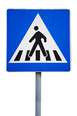 across: Old traffic sign. pedestrian crossing  Stock Photo