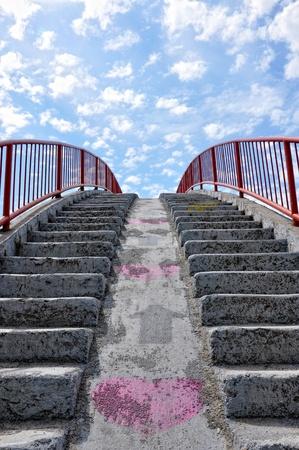 Detail of a concrete bridge against the blue cloudy sky. Stock Photo - 9701424