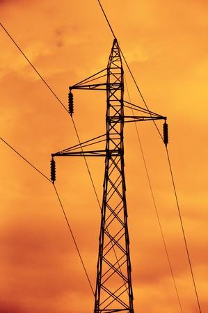 High voltage electricity pylon. photo