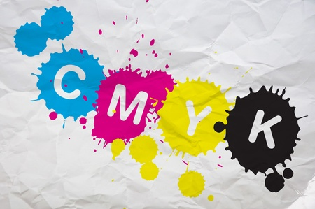imprenta: CMYK, cuatro letras que representan cuatro colores en la industria de impresi�n. Imagen puede utilizarse como una ilustraci�n para un tema poligr�fico.