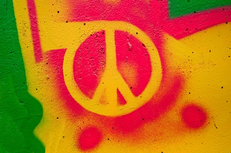 radical love: Highly detailed close up image of a grunge peace sign grafitti.