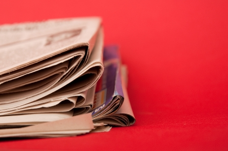 close up image: Folded newspaper, close up image Stock Photo