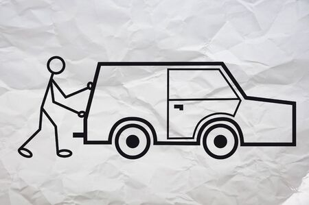 in trouble: Simple illustration of a humanoid figure having a problem with his car.