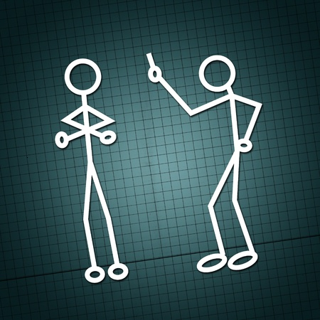 family discussion: Simple drawing of two humanoid figures having an argue over a paper texture Stock Photo