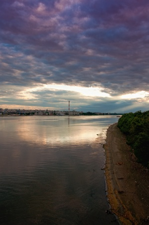 Sunset at Danube river in the city of Belgrade, the capitol of Serbia. photo