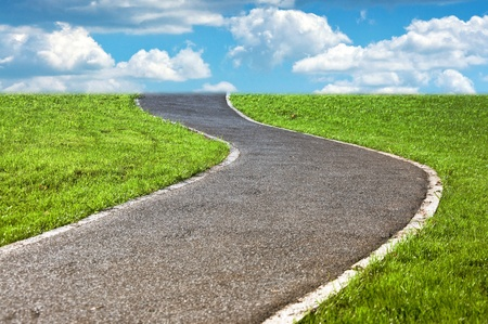 narrow winding pathway in a lush green grass photo