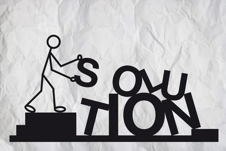 financial metaphor: Simple ilustraci�n de una figura humanoide ordenar letras para formar una palabra soluci�n, concepto de negocio.