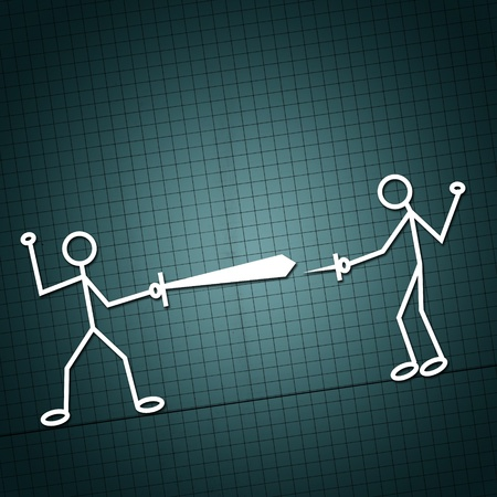 Simple illustration of two humanoid figures in a sword fight, unequality concept.
