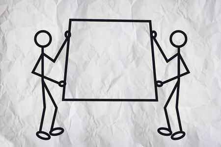 Simple illustration of two man carrying presentation board. illustration