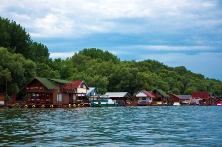 belgrade: Wooden houses on river Sava in Belgrade, the capitol of Serbia. Stock Photo