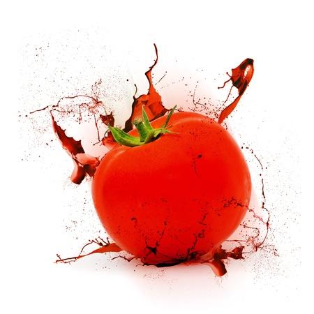 splashed: Red tomato splashed with soft shadow against white background