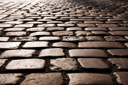 gravel roads: Cobble stone road pattern from Prague.