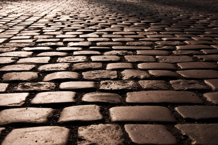 Cobble stone road pattern from Prague. photo