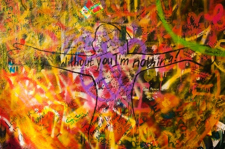 Detail from a famous Lennon wall in Prague photo