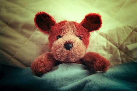 baby romantic: Cute little teddy bear laying in bed and sleeping