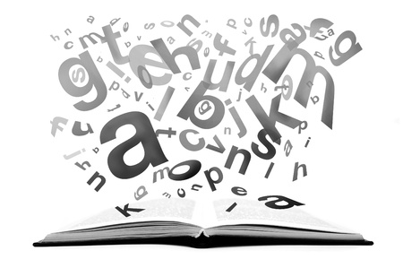 Book with letters flying out of it, grayscale image Stock Photo - 11219329
