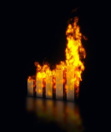 grafica de barras: Los gr�ficos de barras en llamas, la imagen abstracta de r�pido aumento o dcreasing de valores.