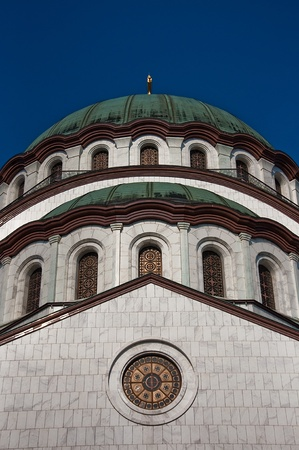 Detail of the Orthodox Cathedral of Saint Sava in Belgrade, Serbia, largest Orthodox church building in the world photo