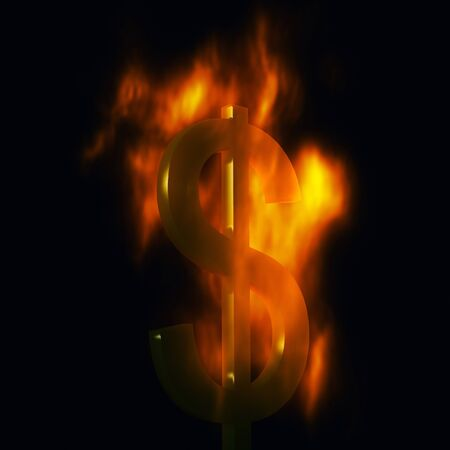 money to burn: Computer genrated 3d dollar symbol burning in flames Stock Photo