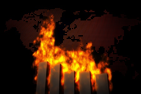economic depression: World ecomy crashes, burning graph charts against the dotted world map.