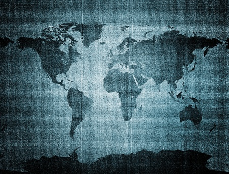 oversea: Old grunge world map placed on a detaild scan of a photo-copy paper. Stock Photo