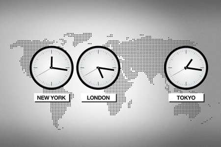 time of the day: Abstract world map with clocks representing different time zones in big cities like Tokyo, London and NEw York.