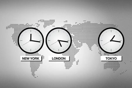 zone: Abstracte wereld kaart met klokken die verschillende tijdzones in grote steden als Tokyo, Londen en New York.