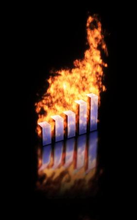 grafica de barras: Los gr�ficos de barras en llamas, la imagen abstracta de r�pido aumento o la disminuci�n de los valores. Foto de archivo