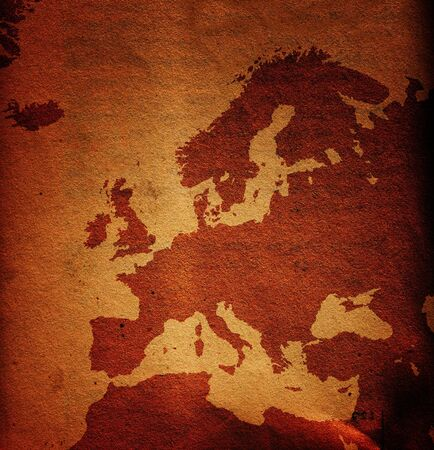 european map: Old and dirty grunge Europe map, paper texture used as background Stock Photo