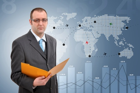 Manager controlling flights of aeroplanes around the world Stock Photo - 11808105